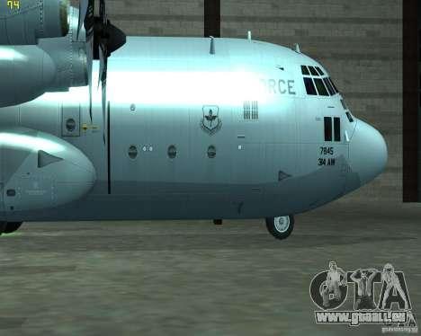 C-130 hercules pour GTA San Andreas sur la vue arrière gauche