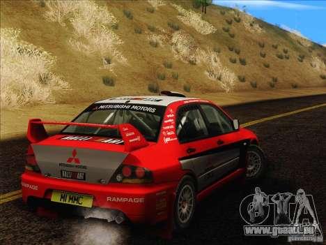 Mitsubishi Lancer Evolution IX Rally für GTA San Andreas Rückansicht