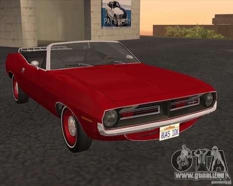 Plymouth Cuda Ragtop 1970 pour GTA San Andreas vue de droite