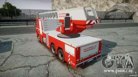 Scania Fire Ladder v1.1 Emerglights blue-red ELS pour GTA 4 Vue arrière
