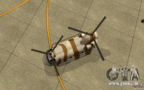 GTA SA Chinook Mod pour GTA San Andreas vue intérieure