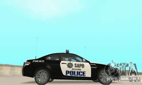 BMW M3 E92 Police pour GTA San Andreas sur la vue arrière gauche
