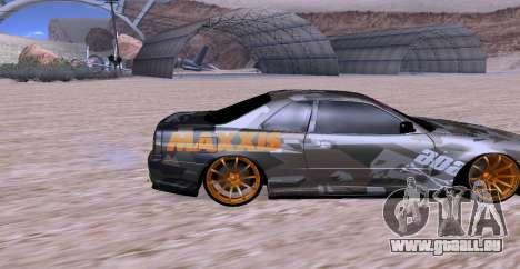 Nissan Skyline GTR34 MAXXIS für GTA San Andreas rechten Ansicht