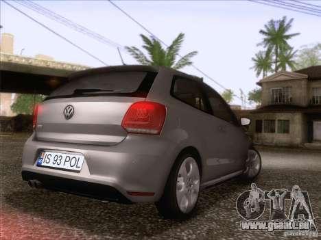 Volkswagen Polo GTI 2011 pour GTA San Andreas sur la vue arrière gauche