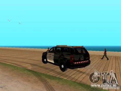 Chevrolet Tahoe Ontario Highway Police für GTA San Andreas zurück linke Ansicht