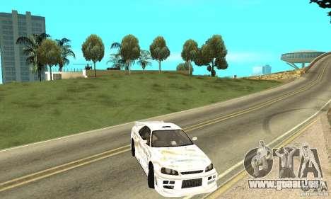Nissan SkyLine R34 Tunable V2 pour GTA San Andreas vue de côté