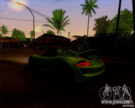 Porsche 918 Spyder Concept Study pour GTA San Andreas vue arrière