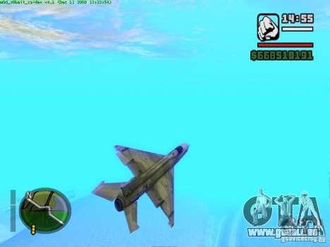 MIG 21 neuf pour GTA San Andreas vue arrière