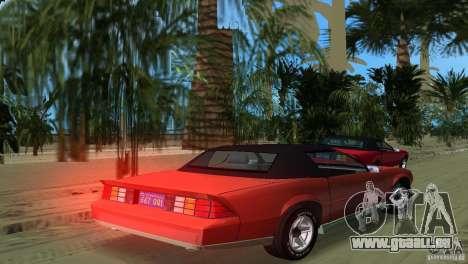 Chevrolet Camaro Convertible 1986 pour une vue GTA Vice City de la gauche