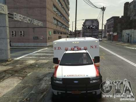 Ford F-350 Ambulance FDNY pour GTA 4 est une vue de l'intérieur