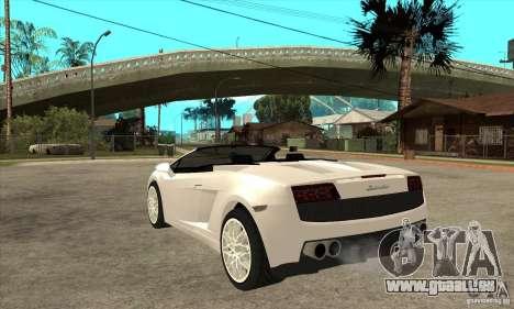 Lamborghini Gallardo Spyder v2 pour GTA San Andreas sur la vue arrière gauche