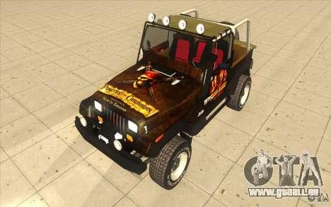 Jeep Wrangler 4.0 Fury 1986 pour GTA San Andreas vue de droite