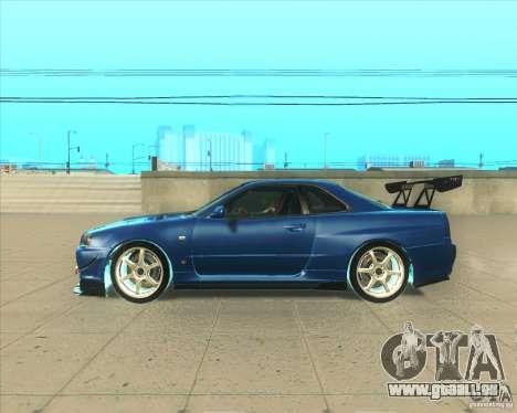 Nissan Skyline GT-R R34 M-Spec Nur pour GTA San Andreas laissé vue