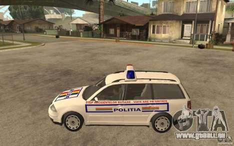 VW Passat B5+ Variant Politia Romana pour GTA San Andreas laissé vue