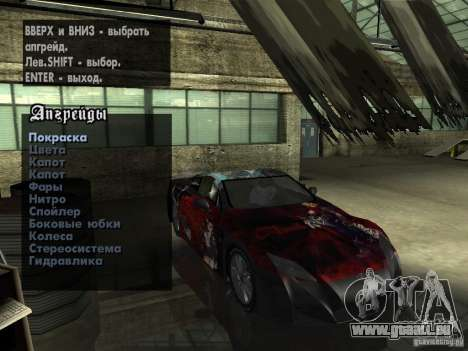 Lexus LFA Custom für GTA San Andreas obere Ansicht