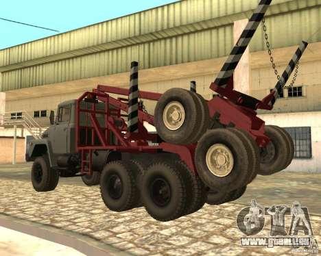 Transporteur de bois KrAZ-255 pour GTA San Andreas laissé vue