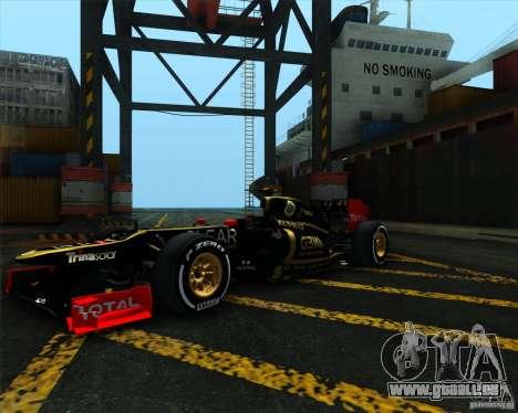 Lotus E20 F1 2012 pour GTA San Andreas vue de droite