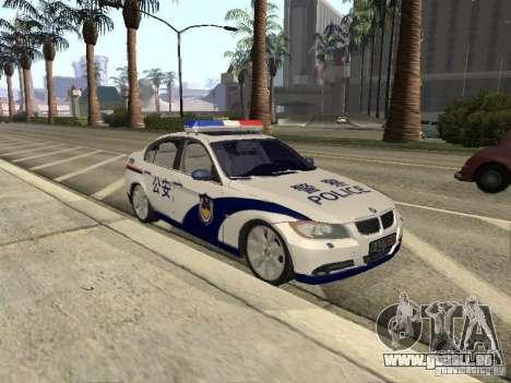 BMW 3 Series China Police für GTA San Andreas zurück linke Ansicht