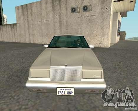 Chrysler New Yorker 1988 für GTA San Andreas Innenansicht