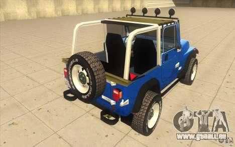 Jeep Wrangler 4.0 Fury 1986 für GTA San Andreas zurück linke Ansicht
