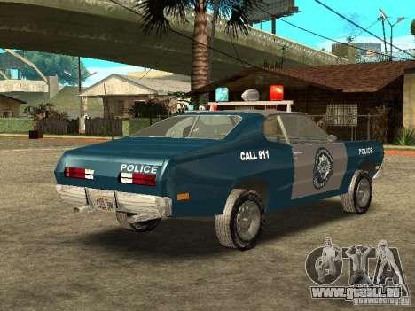Plymout Duster 340 POLICE v2 pour GTA San Andreas vue de droite