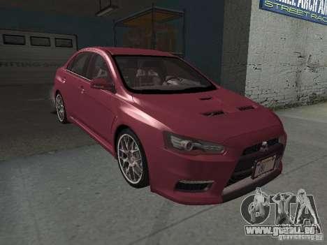 Mitsubishi Evolution X Stock-Tunable pour GTA San Andreas vue de dessous