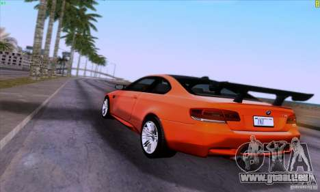 BMW M3 E92 v1.0 pour GTA San Andreas vue de côté