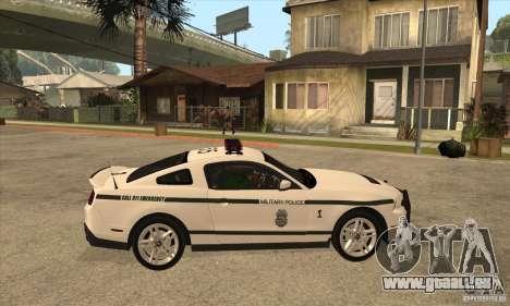 Shelby GT500 2010 Police pour GTA San Andreas vue arrière