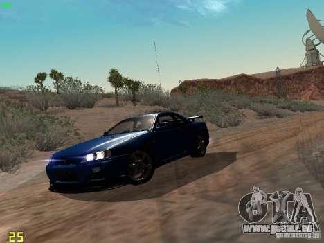 Nissan Skyline GT-R R34 V-Spec pour GTA San Andreas laissé vue