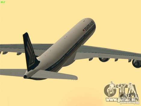 Airbus A340-600 Singapore Airlines für GTA San Andreas obere Ansicht