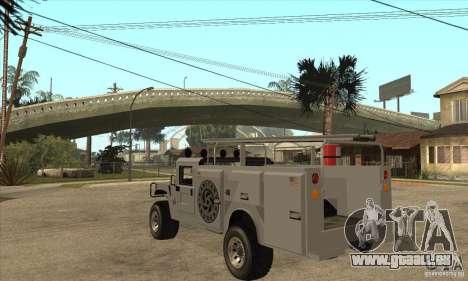 Hummer H1 Utility Truck pour GTA San Andreas sur la vue arrière gauche