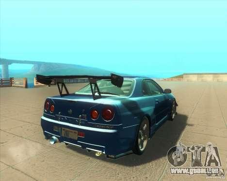 Nissan Skyline GT-R R34 M-Spec Nur pour GTA San Andreas vue de droite