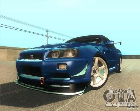 Nissan Skyline GT-R R34 M-Spec Nur pour GTA San Andreas vue intérieure