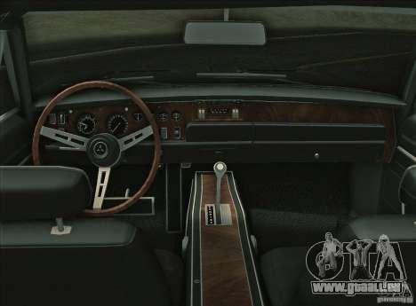 Dodge Charger RT 1969 pour une vue GTA Vice City de l'intérieur
