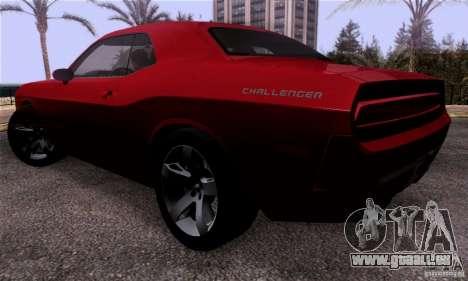 Dodge Challenger SRT8 pour GTA San Andreas sur la vue arrière gauche