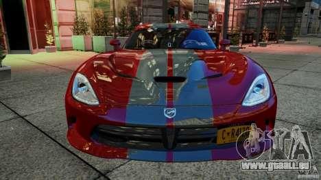 Dodge Viper GTS 2013 für GTA 4 Rückansicht