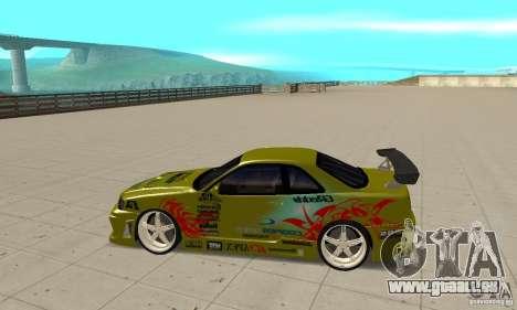 Nissan Skyline R34 GTR pour GTA San Andreas laissé vue