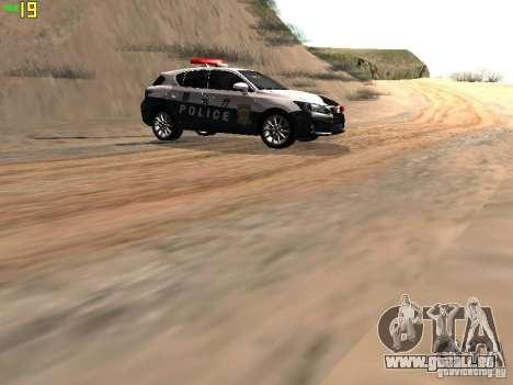 Lexus CT200H Japanese Police für GTA San Andreas Rückansicht