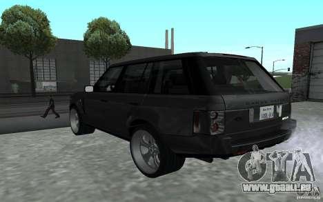 Land Rover Supercharged für GTA San Andreas zurück linke Ansicht