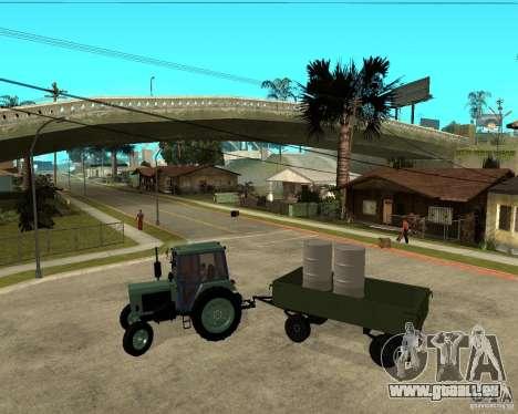 Tracteur Belarus 80,1 et remorque pour GTA San Andreas vue intérieure