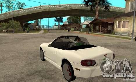 Mazda MX-5 JDM Convertible pour GTA San Andreas sur la vue arrière gauche