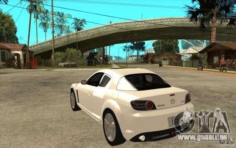 Mazda RX8 für GTA San Andreas zurück linke Ansicht