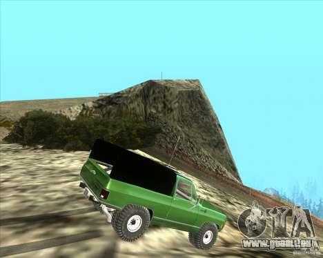 Chevrolet K5 Ute Rock Crawler für GTA San Andreas zurück linke Ansicht