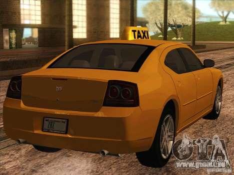 Dodge Charger STR8 Taxi für GTA San Andreas zurück linke Ansicht