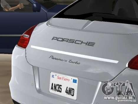 Porsche Panamera Turbo Tunable pour GTA San Andreas vue arrière