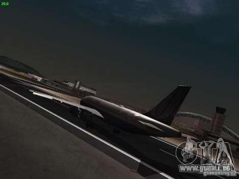 Airbus A319 United Airlines für GTA San Andreas zurück linke Ansicht