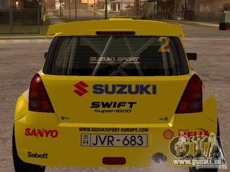 Suzuki Swift Rally pour GTA San Andreas sur la vue arrière gauche