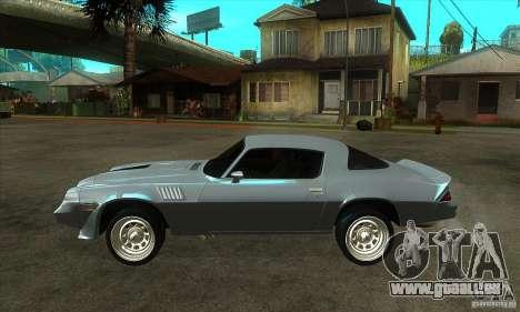 Chevrolet Camaro Z28 1979 pour GTA San Andreas laissé vue