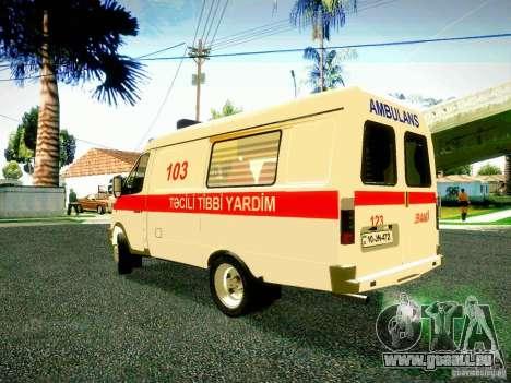 Gazelle 2705 BAKU AMBULANS für GTA San Andreas zurück linke Ansicht
