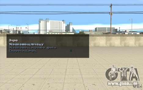 Les caractéristiques du jeu pour GTA San Andreas deuxième écran